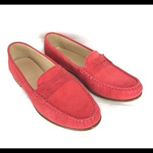 J Crew Suede Penny Loafers Italian Flats 7.5M Red